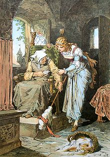 The old woman shows the young woman the spindle.