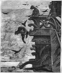 Quasimodo jumping from Notre Dame cathedral.