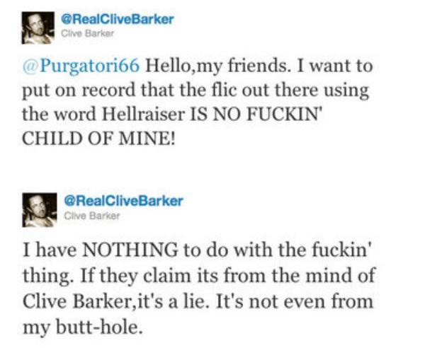 Clive Barker Tweets